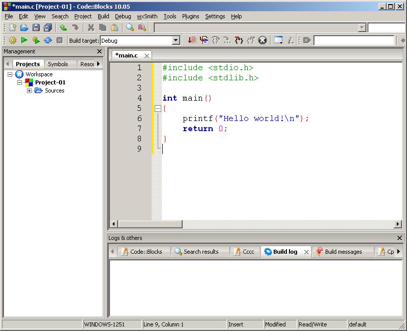 Пример 2 экран более сложной программы